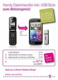Telekom Shop Handy Datentransfer zum Aktionspreis August 2012 KW35