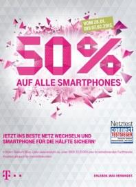 Telekom Shop 50% auf alle Smartphones¹ Januar 2015 KW05