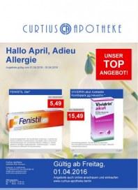 Curtius Apotheke Hallo April, Adieu Allergie April 2016 KW13