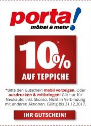 Porta Möbel 10% auf Teppiche September 2017 KW38