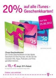 Telekom Shop 20% auf alle iTUNES Geschenkkarten Juni 2012 KW25