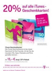 Telekom Shop 20% auf alle iTunes-Geschenkarten März 2013 KW12