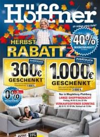 Höffner Herbst RabattZ - Bis zu 40% Markenrabatt auf Möbel Oktober 2013 KW40