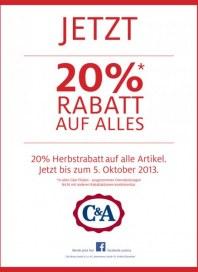 C&A 20% Rabatt auf Alles Oktober 2013 KW40