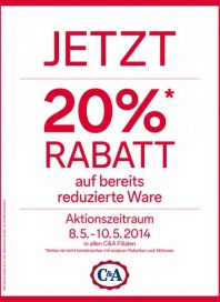 C&A Jetzt - 20% Rabatt Mai 2014 KW19