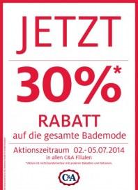 C&A 30% Rabatt auf Bademode Juli 2014 KW27