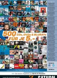 Saturn 500 CDs, DVDs & Blurays für je 5,- März 2015 KW12
