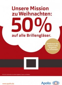 Apollo Optik 50% auf alle Brillengläser November 2016 KW48